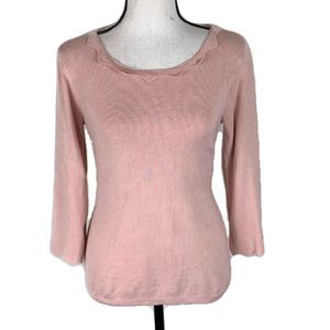 Philosophy Pink Knit Sweater 3/4 Sleeve Size Small